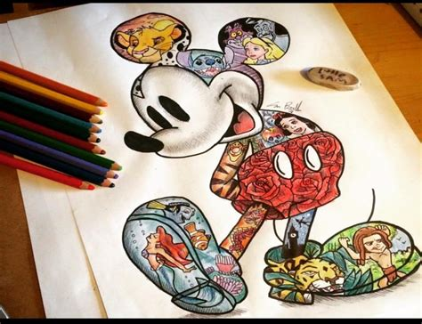luxury multicolor mickey mouse with disney cartoons