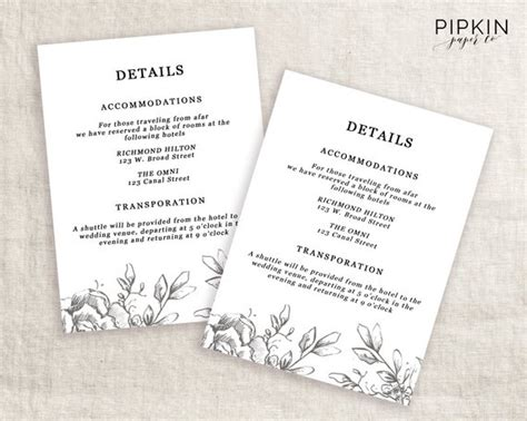 wedding detail card template free wedding details template information card template wedding