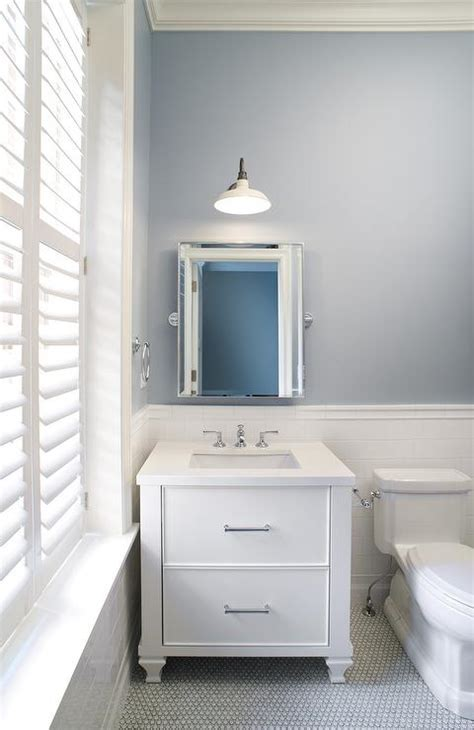 slate blue bathroom walls with white subway tiles contemporary bathroom