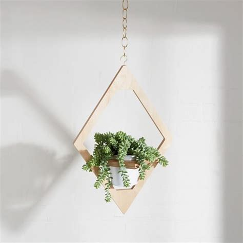 decorative hanging planters angular planter decor wooden hanging planter