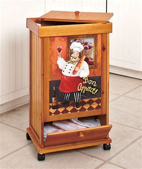 bon appetit kitchen collection italian chef rolling wooden trash bin w storage