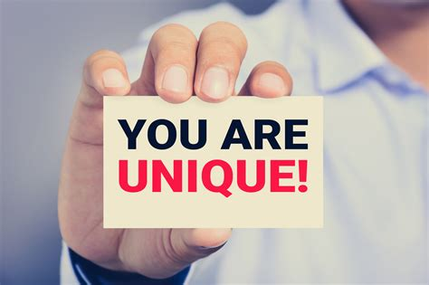 You Are you are unique message on the card shown by a