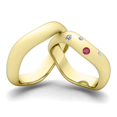 matching wedding band in 14k gold curved and ruby ring