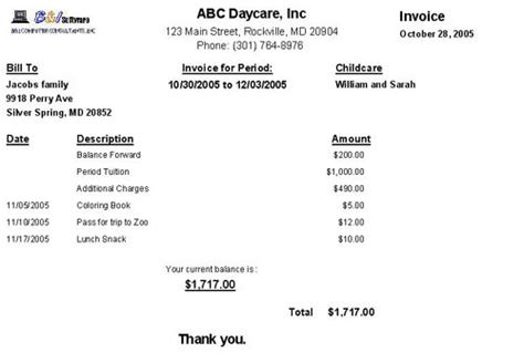 Receipt For Daycare Services Year End Statement Template by Child Care Invoice Receipt Template