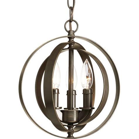 Vintage Light Pendant Progress Lighting Equinox Collection 3 Light Antique Bronze Pendant P5142 20 The Home Depot