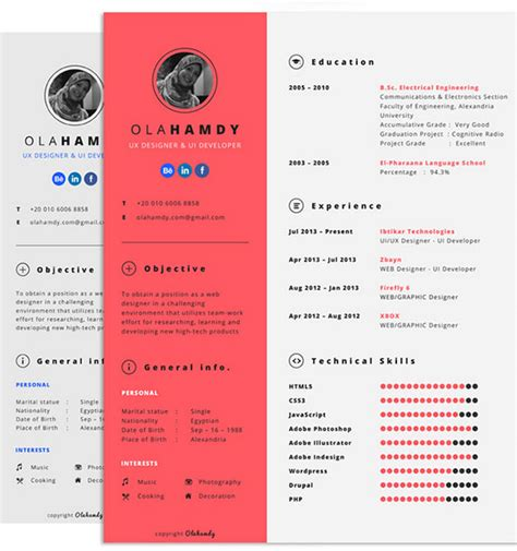 10 best free resume cv design templates in ai mockup psd collection