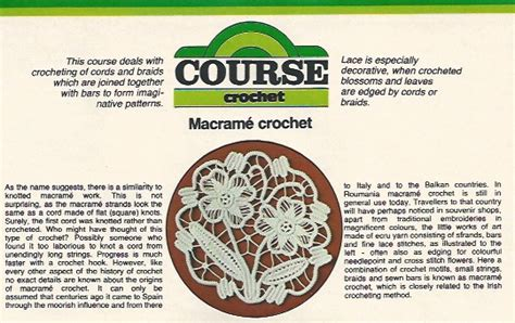 History Of Macrame - macram 233 style crochet point lace in burda