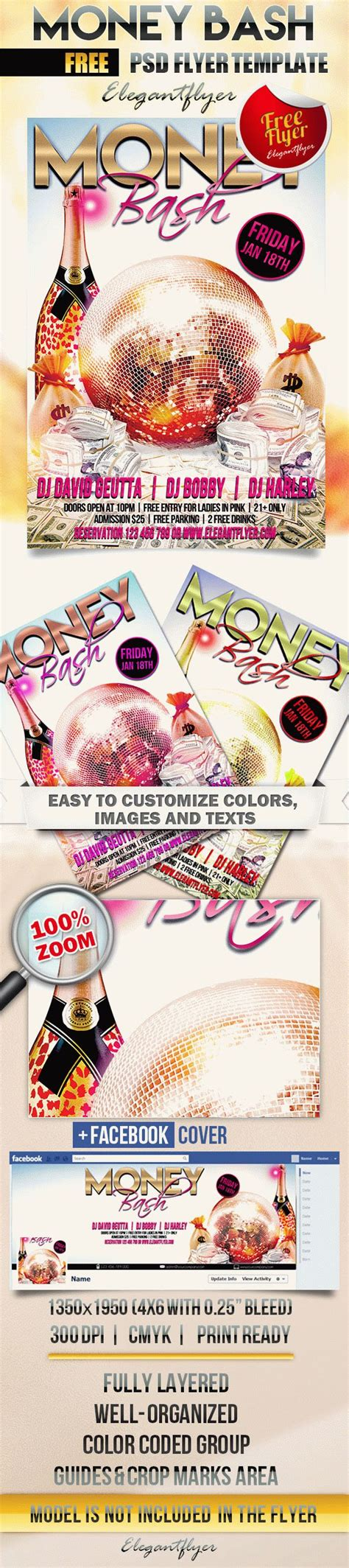 Free Flyer Template Psd Money Bash Facebook Cover Flyershitter Com Money Flyer Template