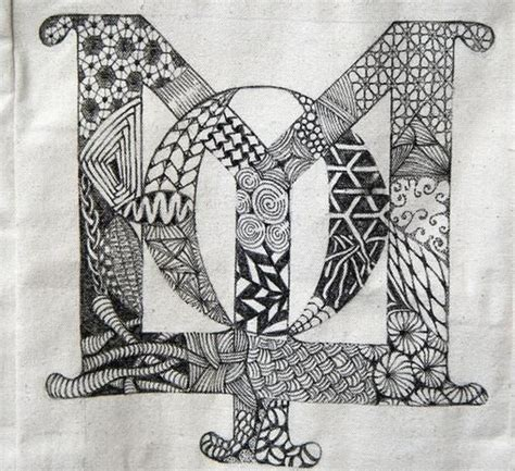 zentangle pattern fracas molly hollibaugh s tangled initials the daughter of