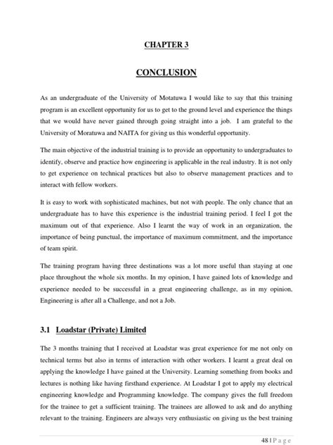 Sample Of Report Conclusion Industrial Training Report Conclusion