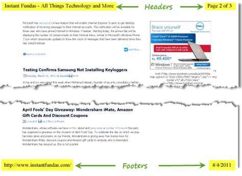 html printable footer how to remove or change headers and footers when printing