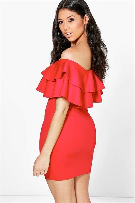 Lenka Dress boohoo womens lenka the shoulder frill bodycon dress ebay