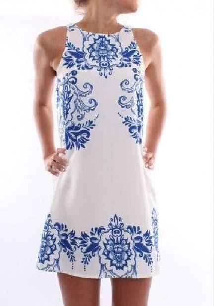blue porcelain floral print sleeveless shift dress lilly closet