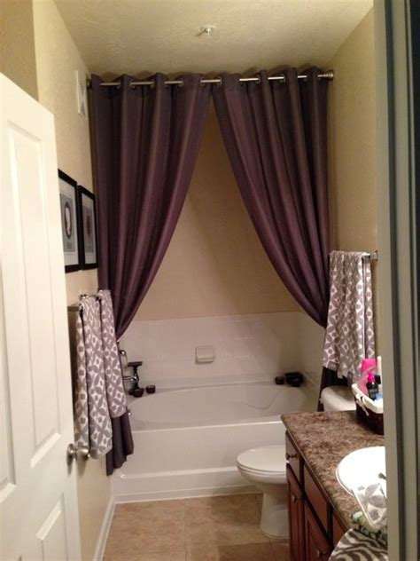 all around shower curtain great way to hide empty space above around an awkwardly