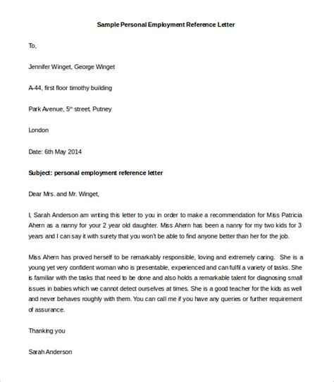 Personal And Business Reference Letter reference letter sle free