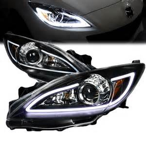 2010 2013 mazda 3 led drl projector headlights black