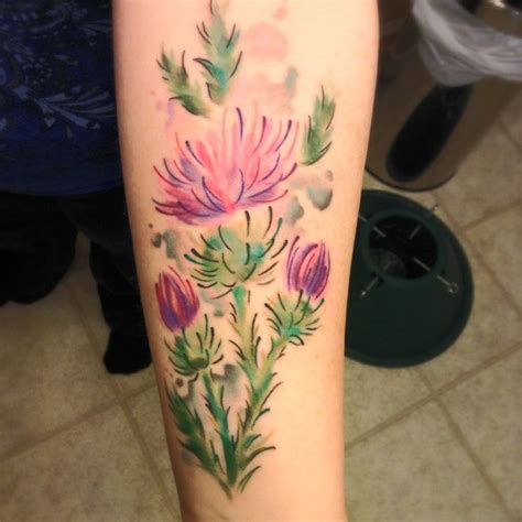 watercolor tattoo kent scottish thistle p e r m a n e n t