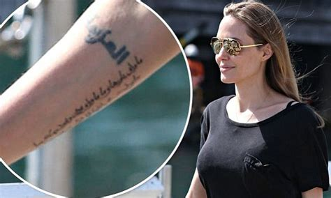 angelina jolie arabic tattoo translation angelina jolie new tattoo actress debuts new inking on
