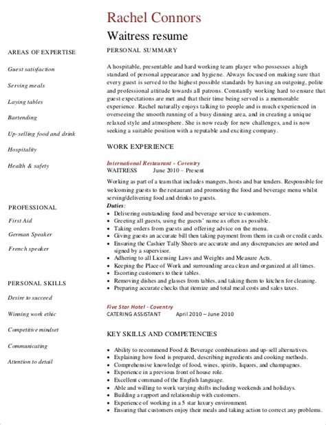 Waiter Resume Sle by Resume For A Waiter 28 Images Sle Waitress Resume Exles Resume Template 2017 Waitress