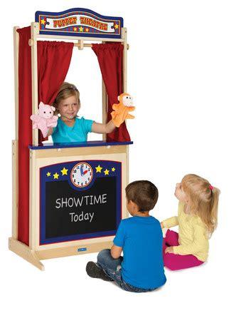 whitney brothers preschool kids pretend play kitchen toy guidecraft pretend play wooden floor theater puppet