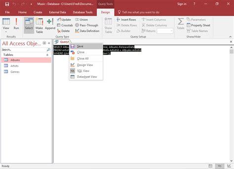 microsoft query tutorial sql access 2016 create a query
