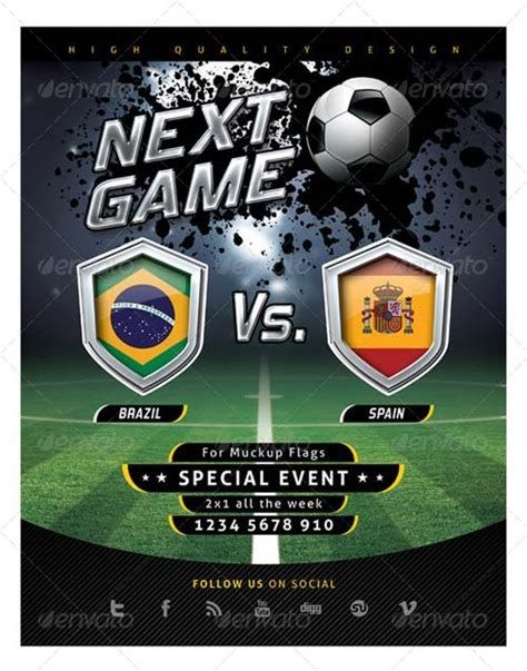soccer poster template flyer templates graphicriver flyer soccer template with