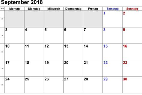 Almanacka R 2018 Kalender September 2018 Zum Ausdrucken Pdf Excel Word