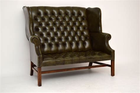 wing back settee antique deep buttoned leather wing back settee sofa
