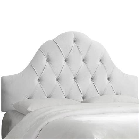 tufted white headboard skyline furniture arch tufted panel headboard in white