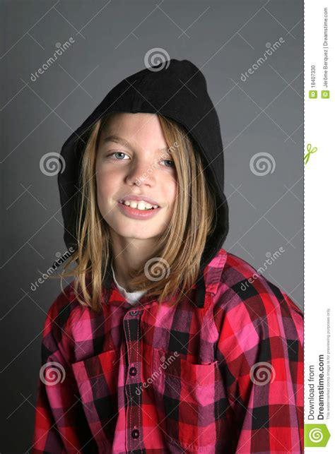 long hair youth boys boy with hood stock photo image 18407330