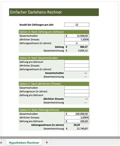 excel kreditrechner kostenlos zins rechner excel vorlagen f 252 r jeden zweck