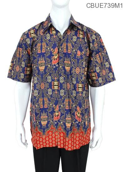 Kemeja Baju Lengan Pendek Biru Pendek Murah Blue baju batik kemeja ekslusive motif asmat modern kemeja lengan pendek murah batikunik