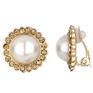 clip on earrings leonie s imitation pearl gold button clip on earrings