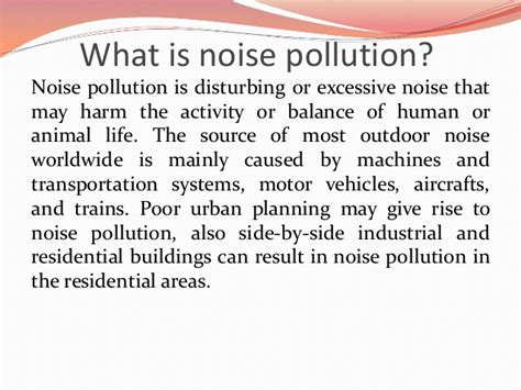 Of Noise Noise Pollution