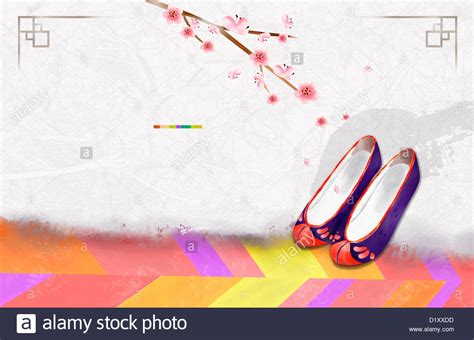 powerpoint templates korea ppt template illustration of korean traditional shoes