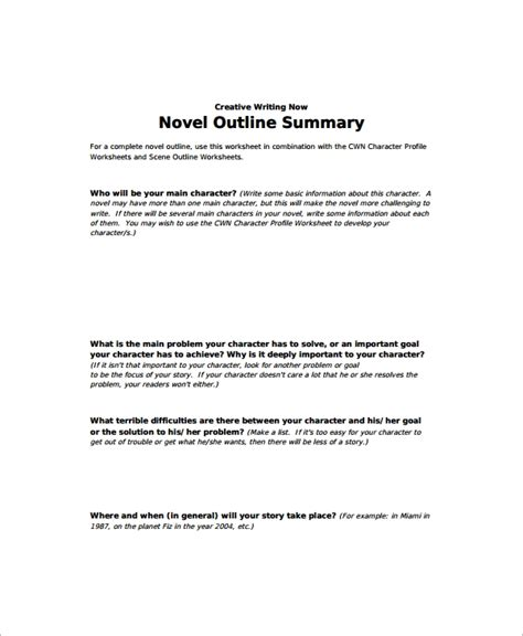10 Story Outline Sles Sle Templates Writing A Novel Outline Template