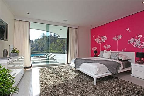 pink gray and black bedroom contemporary bedroom modern bedroom with pink wall and white trees decoist