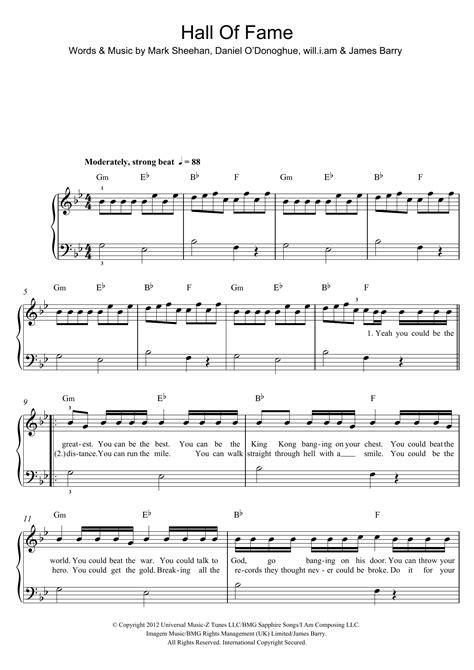 printable lyrics hall of fame hall of fame sheet music direct