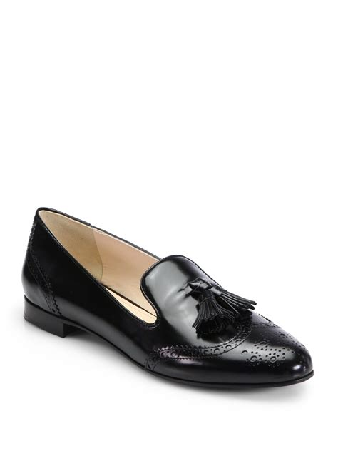 prada slipper prada leather tassel slippers in black nero black