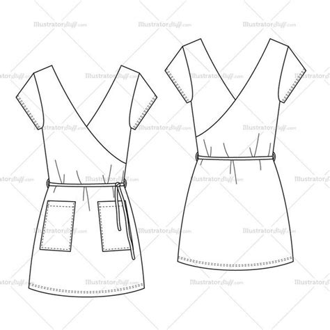 dress template for adobe illustrator women s stretch short summer wrap dress fashion flat