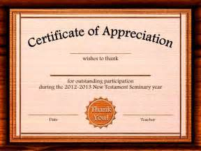 thank you certificate template free certificate of appreciation sles free