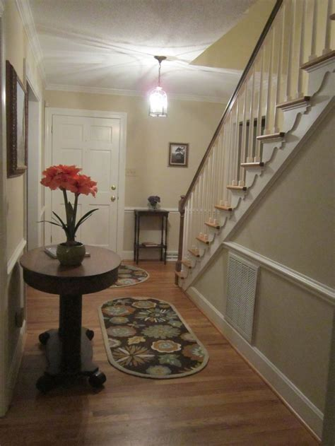 foyer after paint valspar homestead resort taupe trim is benjamin simply white