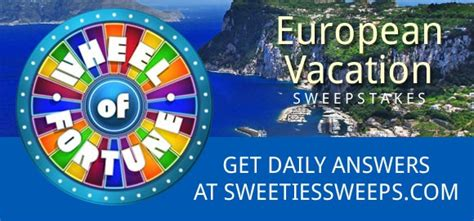 Wheel Of Fortune Sweepstakes Giveaway - wheel of fortune european vacation sweepstakes answers