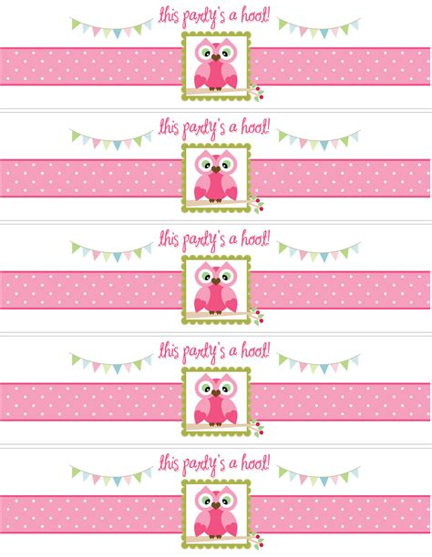 free printable baby cards templates water bottle owl birthday with free printables how to nest for