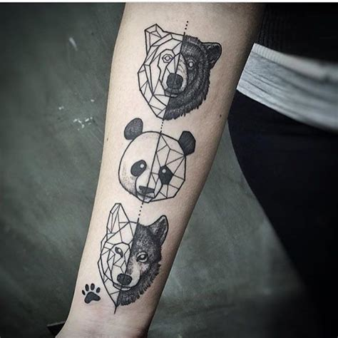 geometric bear tattoo geometric tattoos animals panda wolf paw print