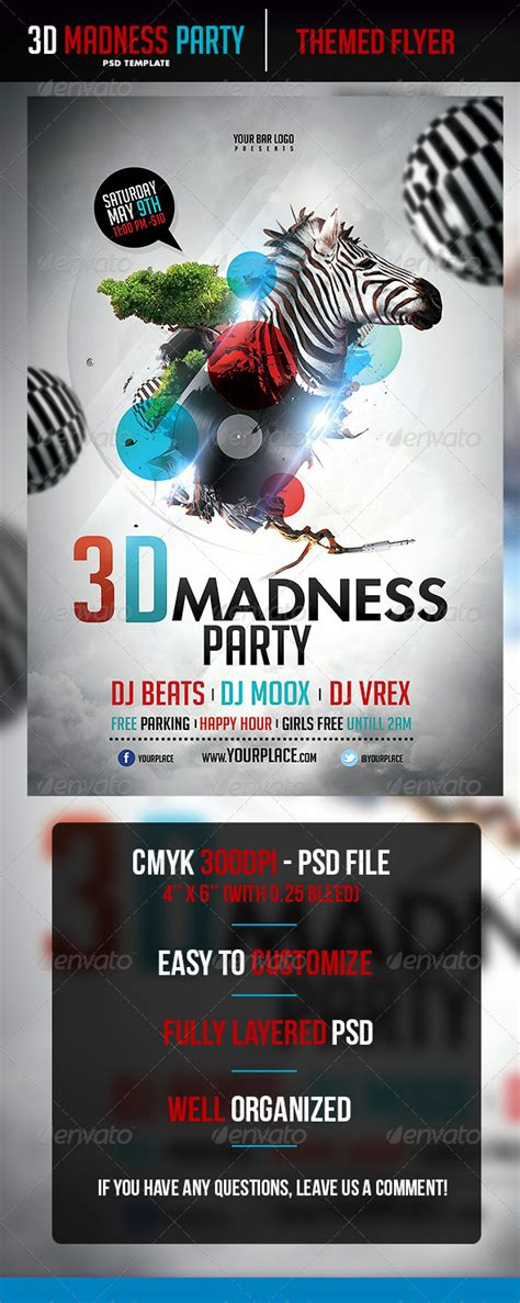 Madness Flyer Template 3d Madness Flyer Template By Odin Design Graphicriver