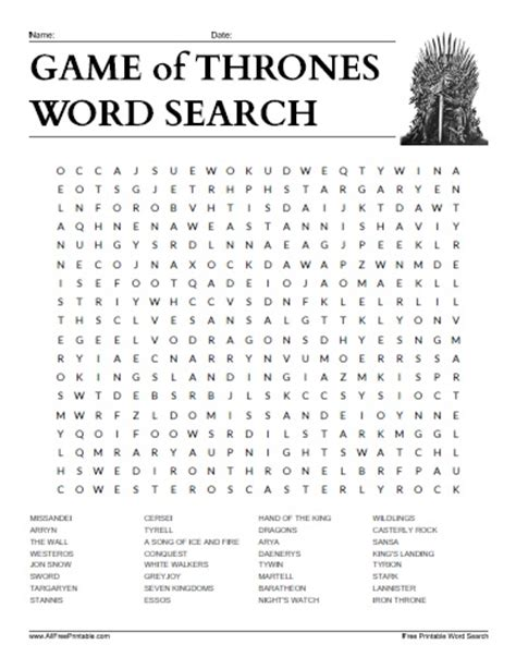 All Free Search Of Thrones Word Search Free Printable Allfreeprintable