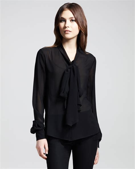 Black Blouse laurent silk bow blouse in black lyst