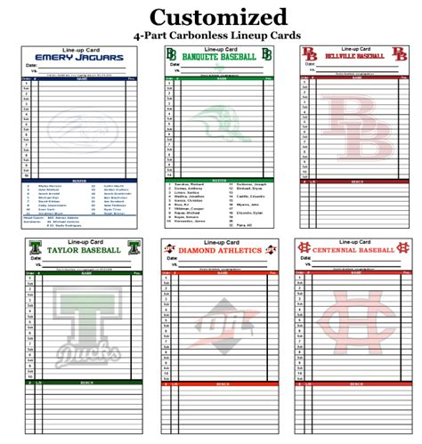 line card template excel 30 lineup cards with your team logo your team colors
