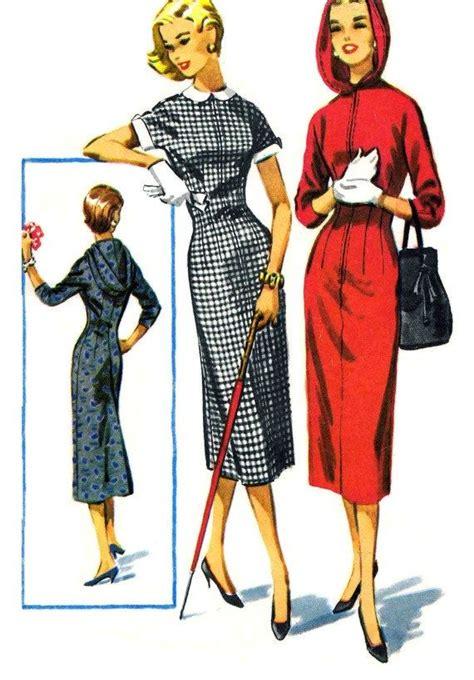 pattern hooded dress 1950s womens hooded sheath dress pattern 50s mccalls 3854